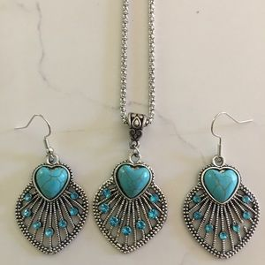 Turquoise Heart necklace/earring set-brand new
